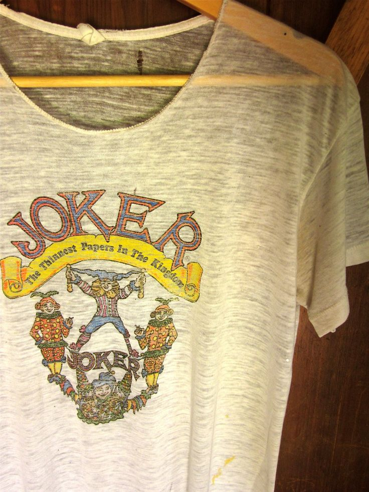 joker brand papers vintage t shirt   70's JOKER Rolling Papers T Shirt Paper Thin // by StrayCatBooth