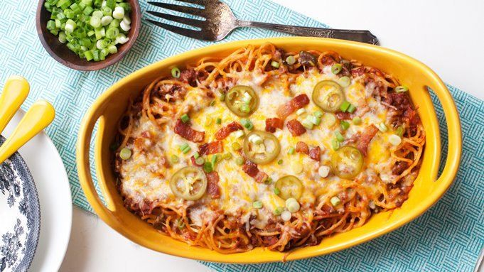 Double up this meat-lover's recipe and set one aside for quick freezing. With bacon, jalapeños, ground beef and cheese, this dish satisfies even the hungriest appetite.