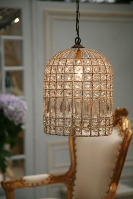 French Beaded Birdcage Chandelier on Chairish.com