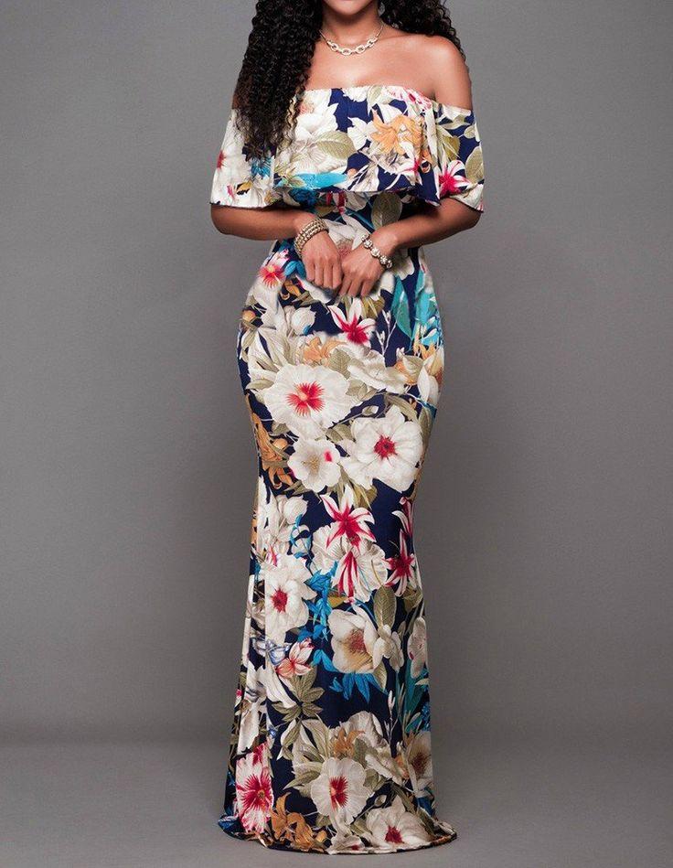 Big Flower Prints Off The Shoulder Flounced Getaway Maxi Bardot Dress