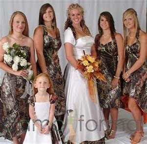 Kind of like the idea of camo bridesmaid dresses. :)