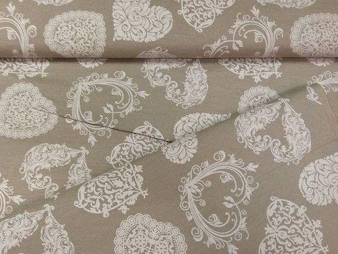 Lakástextil lenesvászon drappalapon szívek 140 cm széles