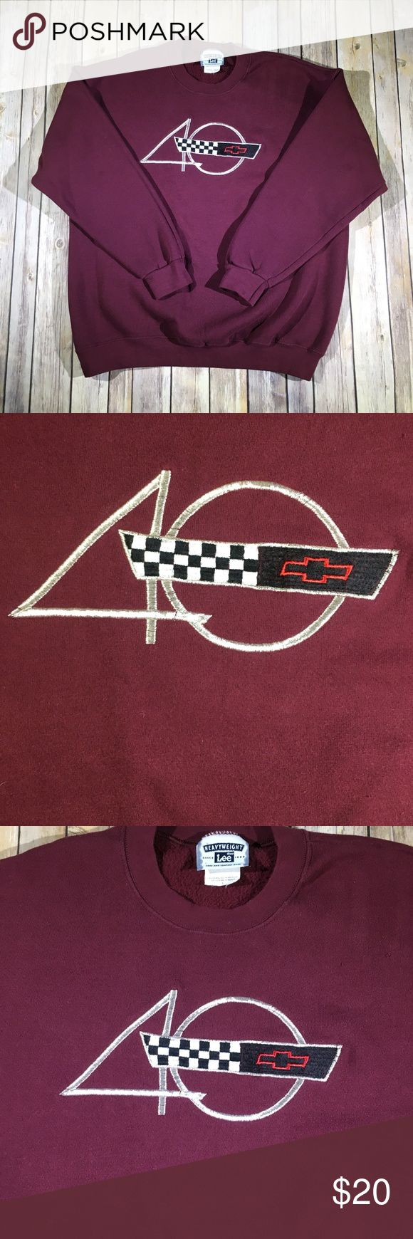 Vintage Ford 40 Year Anniversary Sweater - Mens L Condition - 8/10 with little to no signs of previous wear. No cuts, holes, rips or stains  Brand - Lee Heavyweight   Size - Mens Large   Color - Burgundy   Origin - Assembled in USA Lee Sweaters Crewneck
