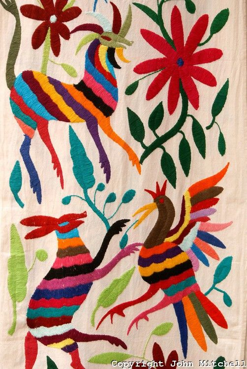 Traditional embroidery from Otomi village of San Pablito, Puebla, Mexico