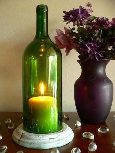 Bouteille de vin vert bougie support lampe d'ouragan par BoMoLuTra