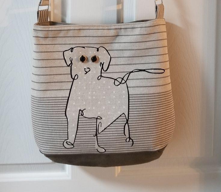 Shoulder bag, tote, purse, spunky Dog, beige designer fabric  and olive green swede, by jewellgem on Etsy