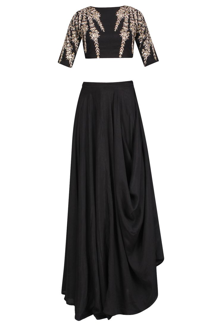 Black embroidered crop top and cowl skirt set available only at Pernia's Pop Up Shop.