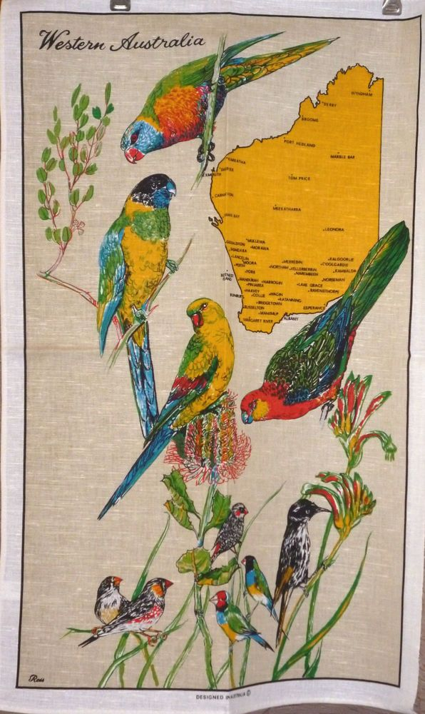 Tea Towel Vintage/Retro AUSTRALIANA design. NEW. Western Australian Birds