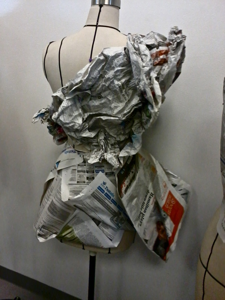 Crushed paper Draping with newspaper