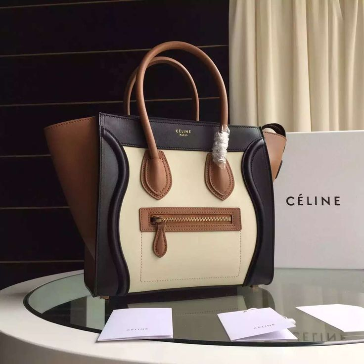 68db91b474 Celine Tricolor Micro Mini Luggage Handbag in Smooth Calfskin  Off-White Black Brown