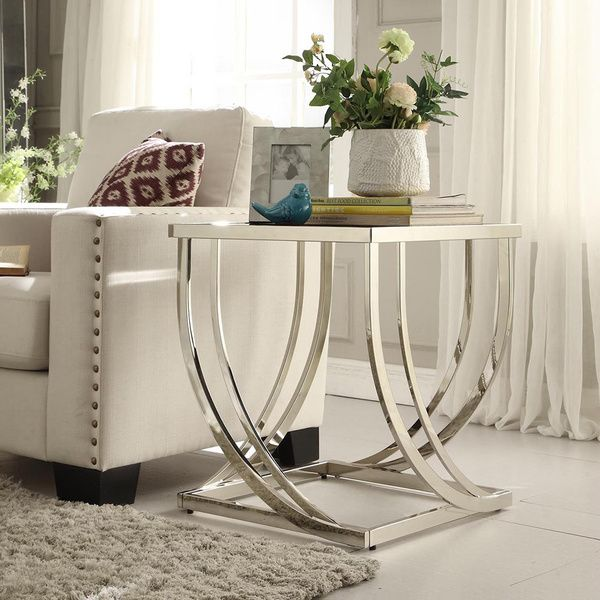 TRIBECCA HOME Anson Steel Brushed Arch Curved Sculptural Modern End Table Part 98