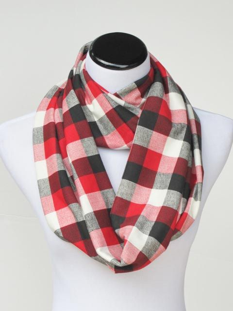 Plaid scarf infinity scarf gingham classic scarf red black white plaid  scarf loop scarf gift idea efb1f5f97c9
