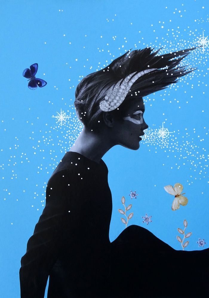 Paper cut outs and white Posca pen collage of beautiful goddess breathing stars in the sky on blue background.
