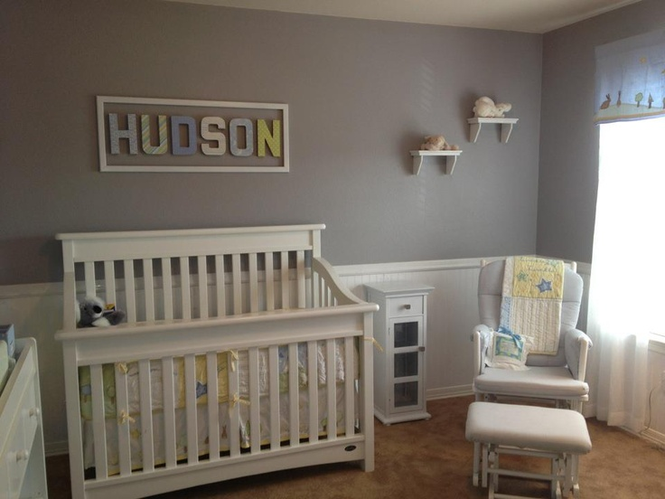 Hudson S Nursery Gray Walls White Bead Board Pbk