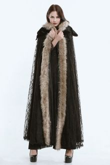 Hooded Lace Cape Coat