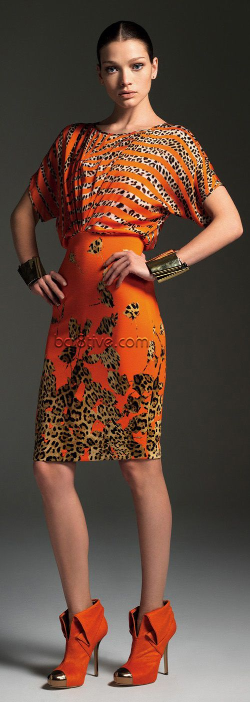Blumarine Orange & Leopard Print Dress Animalistic Fashion #UNIQUE_WOMENS_FASHION
