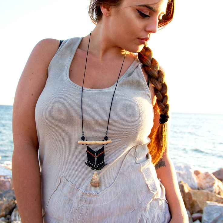 #etsy #jewelry #necklace #black #silver #girls #beachtropical #teardrop #ethnic