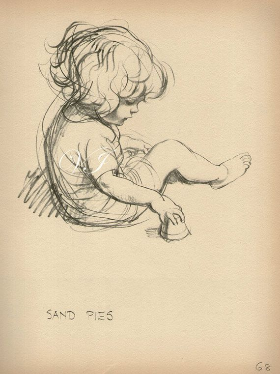 Vintage Antique 1930 SAND PIES Drawing of Baby Illustration girl babies bookplate