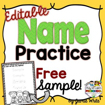 Try a FREE Sample of our popular EDITABLE NAME PRACTICE pages. The easy format will save you TONS of TIME. You can make customized practice sheets for every child in your class in less than 2 minutes!The full set of Name Worksheets includes 9 different writing pages so that you can customize and differentiate the practice that your children need.