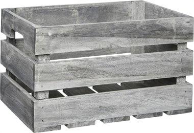 Förvaringsbox trä grå 21x31cm