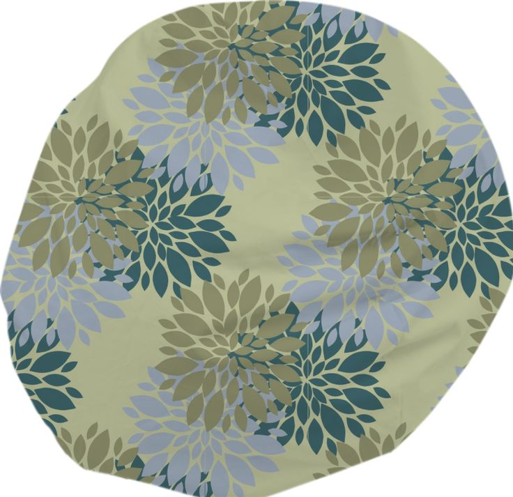 Khaki, Teal, Blue Floral Bean Bag Chair from Print All Over Me
