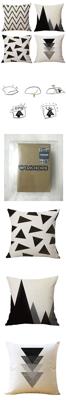 "WOMHOPE 4 Pcs - 17"" [Just Cover] Black Style Cotton Linen Square Throw Pillow Case Decorative Cushion Cover Pillowcase Cushion Case for Sofa,Bed,Chair,Auto Seat (B Black)"