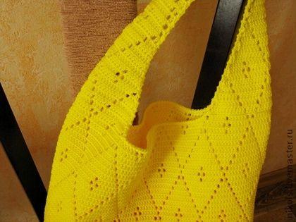 """Сумка вязаная """"Сочный лимон"""" - лимонный,однотонный,сумка,сумка женская"""