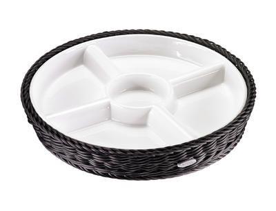 Podnos kulatý dělený 28,5 x 4,5 cm, s košíkem černá, vhodné do myčky nádobí 699Kč