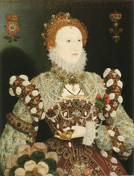Elizabeth I, the Pelican Portrait ~ by Nicholas Hilliard (1547-1619, English goldsmith and limner best known for his portrait miniatures of members of the courts of Elizabeth I) [2nd of two pins] -- thanks for correction, Raichel! - I'd identified this incorrectly as the Phoenix Portrait by Hilliard.