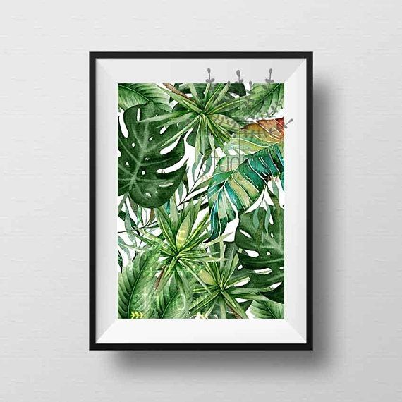 Green Leaf Poster Tropical Leaves Wall Art Greenery Wall Leaf Wall Art Tropical Wall Art Tropical Wall Decor