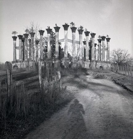 """""""Windsor Ruins taken by writer Eudora Welty. Her shadow can be seen in the foreground."""""""