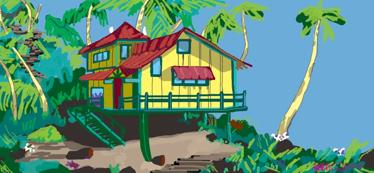 Here Is Lilo S House From Lilo Amp Stitch Drawings Paintings Disney Artwork By Mitch Disney Artwork Christmas Ornaments Lilo Stitch
