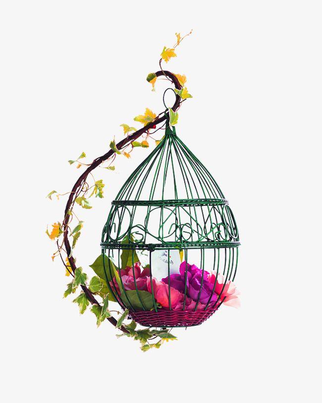 Red Fresh Bird Cage Flowers Decorative Patterns Flowers Flower Illustration Bird Clipart
