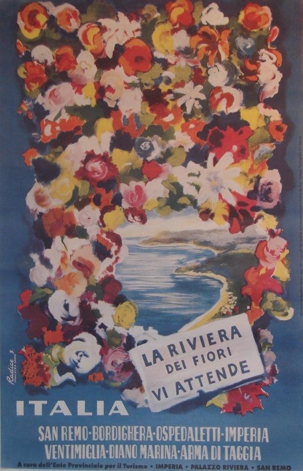 Riviera dei Fiori vintage affiche - Liguria  #essenzadiriviera