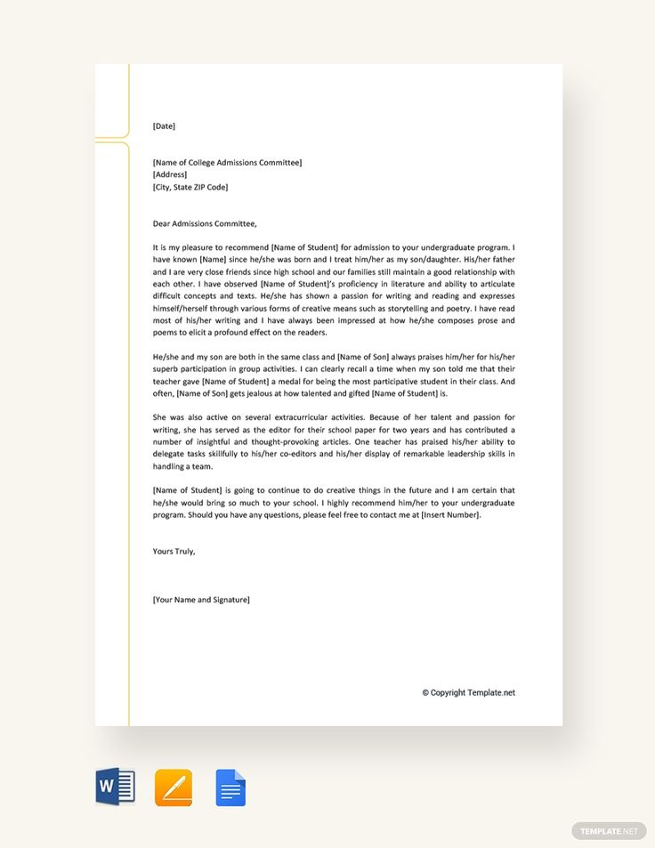 College Recommendation Letter From Family Friend College Recommendation Letter Letter Of Recommendation College Letters