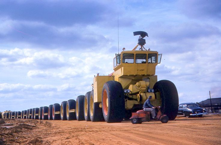 In the 1950s the LeTourneau company developed several overland trains, essentially oversized semi-trailer trucks that could travel over almost any terrain. The US Army had three experimental units built, the largest reaching almost 600 feet (183 m) long, which holds the record for the longest offroad vehicle.  #Mainpac #Fleet #Transport
