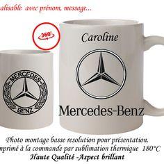 Mug -tasse - logo mercedes benz  - personnalisable avec prénom..