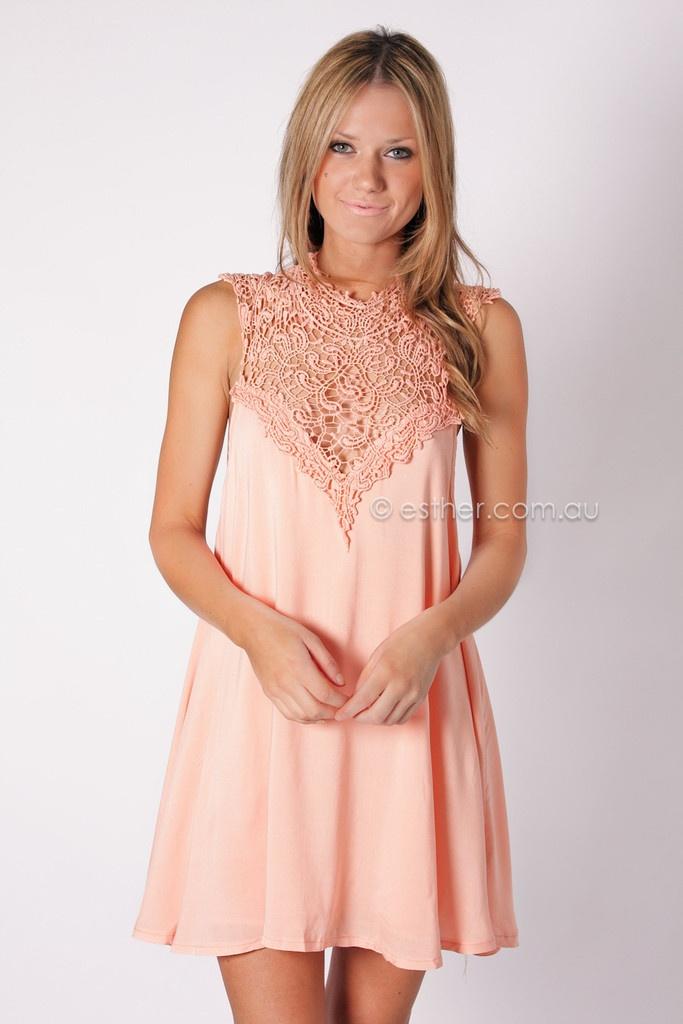 Reflection Lace Dress Peach Bridesmaid Dress