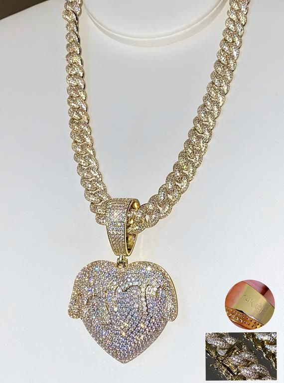 Drip Heart Necklace CZ Diamond Heart Choker ICY Necklace,Chain Men/'s Miami Cuban Link Chain Necklace,14K Gold 5X Layered Cuban Chain
