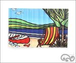 """Corrugated iron art print. """"Dingy and deck chair"""""""