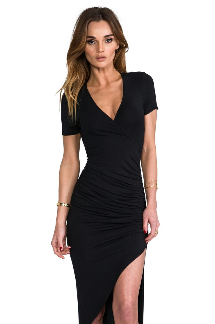 ASYMMETRICAL SURPLICE DRESS KRISA $196.00