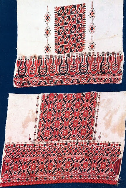 Example of embroidery from the hem of a chemise.   This blog has a wealth of information on folk costumes and embroidery.  Check it  out!  #embroidery #ethnic #greece #greek FolkCostume: Costume of the Sarakatsani or Karakachani, Greece