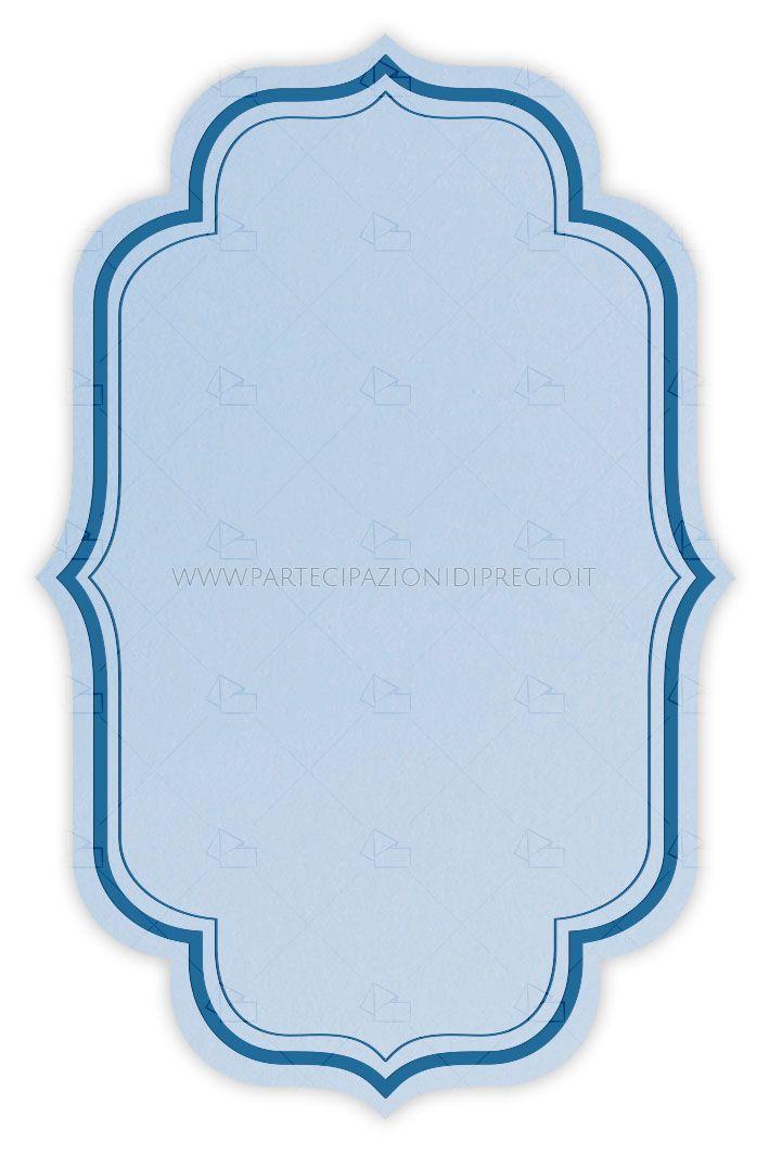 Partecipazione di matrimonio - dimensione: 17 x 11 - forma: rosella - carta: Gmund Cotton - Gentlemen Blue - 300, 600, 900 gr. - linea: cornici Rosella - modello: cornice Rosella doppia distanza mm 5 spessore 6-1 pt - lavorazione press: cornici
