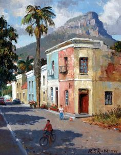Old Malay houses with Lion's Head, Cape Town - paintings by Roelof Roussouw  