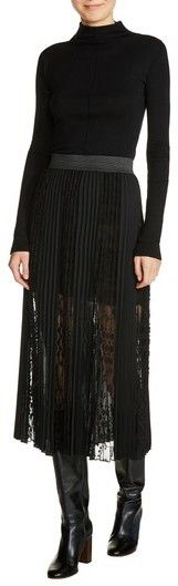 Maje Women's Lace Inset Pleated Midi Skirt