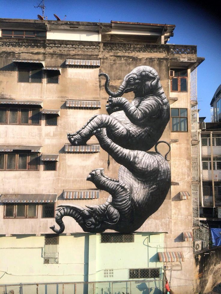 "Eléphants"" de ROA à Bangkok, Thaïlande -fevrier 2016"