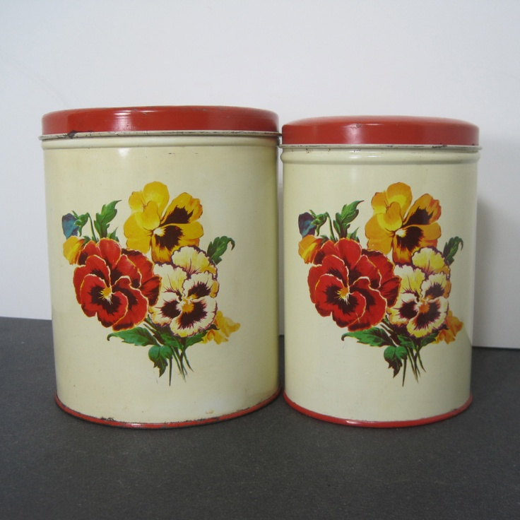 Vintage kitchen canister set by parmeco for Kitchen set vintage