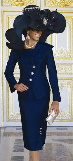 First Lady Church Suit by Donna Vinci 11184 WOW she needs a seat just for the hat...gorgeous!