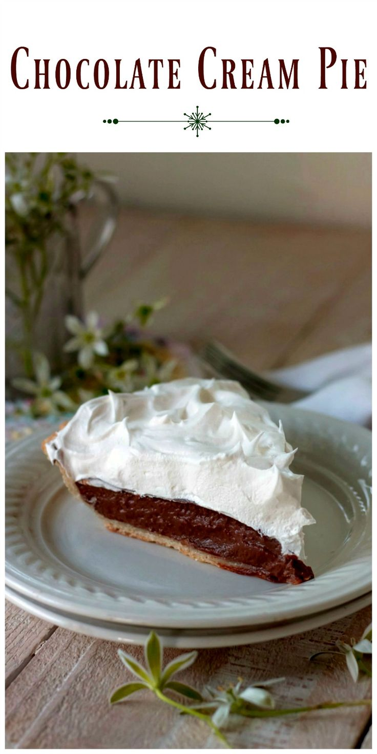 Chocolate Cream Pie - made with an easy homemade chocolate filling and topped with whipped cream this pie is definitely a keeper! via @https://www.pinterest.com/BunnysWarmOven/bunnys-warm-oven/