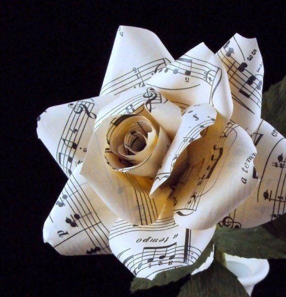 Vintage sheet music rose, regular - paper flower for wedding, gift, or home decor
